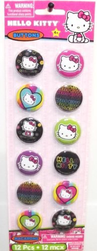 Hello Kitty 'Neon Tween' Buttons / Pins (12ct) -