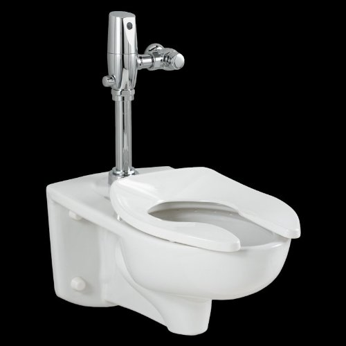 American Standard 2257.528.020 Afwall Universal Floor Mount Toilet Bowl and 1.28 Gpf Selectronic Flush Valve by American Standard