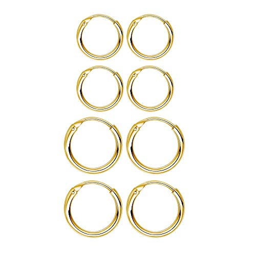 4 Pairs Sterling Silver Cartilage Small Hoop Earrings Set Hypoallergenic 14K Gold Plated Endless Helix Tragus Earrings Nose Lip Rings, 8mm 10mm