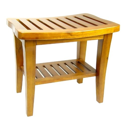 Redmon Collection Teak Bench, 20 x 13.5 x 17.5 Height