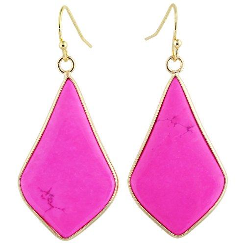 SUNYIK Women's Rose Howlite Turquoise Teardrop Dangle Earrings (Teardrop Slice)