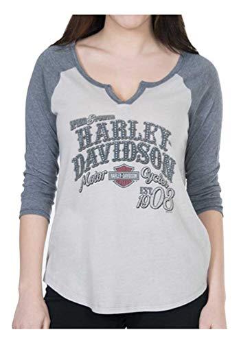 Harley-Davidson Women's Colorblocked Squadron 3/4 Sleeve Raglan Tee, Gray (L)