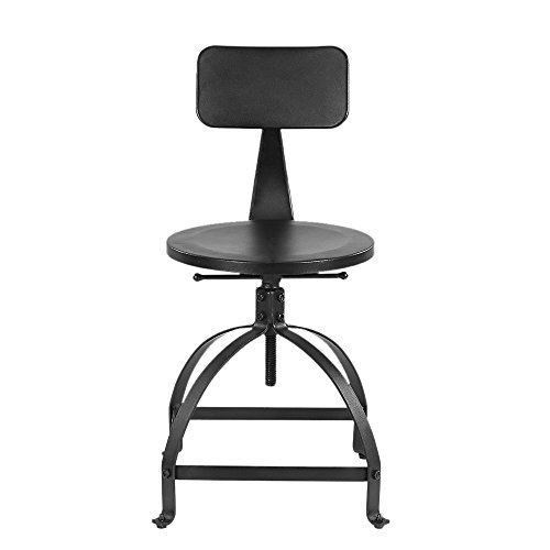 IKAYAA Ajustable Height Barstools Swivel Metal Industrial Style Home Kitchen Dining Chair with Backrest
