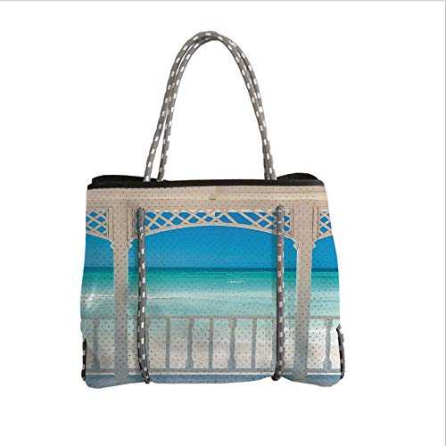View Terrace - Neoprene Multipurpose Beach Bag Tote Bags,Coastal Decor,Romantic Wooden Terrace with View of Tropical Beach in Cuba Pavilion,White Aqua Blue,Women Casual Handbag Tote Bags