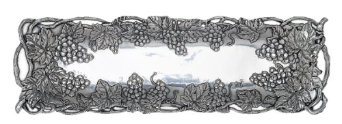 Arthur Court Metal Oblong Serving Tray Grape Pattern Sand Casted in Aluminum with Artisan Quality Hand Polished Designs Tanish Free 19 inch x 5.5 inch