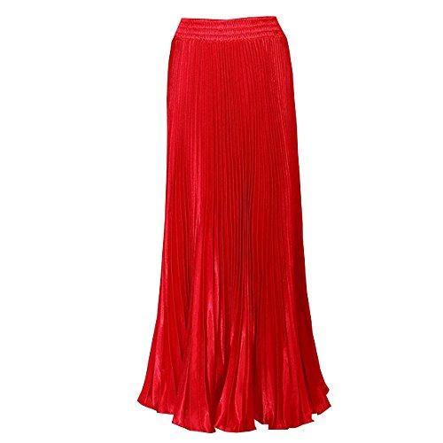 Taille De Longue Femme Rouge Soie Mousseline Haute Double des Jupe BOZEVON Plissee Robe qtxfn0Of