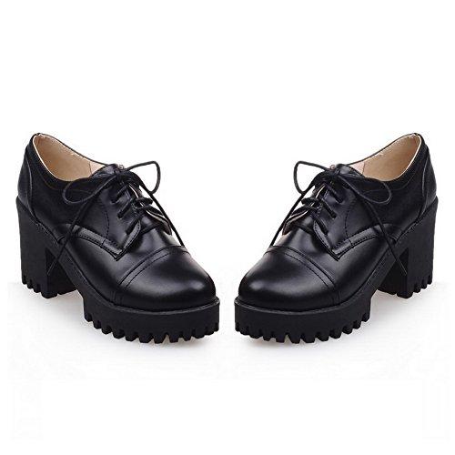 Balamasa Ladies Bandage Chunky Heels Gear Bottom Imitated Leather Pumps-Zapatos Black