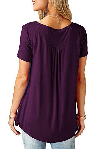 2 Chemisier V Shirt Courte Col DJT Boutons Femme Lache Manche Violet Tops Blouse T qwRO1X