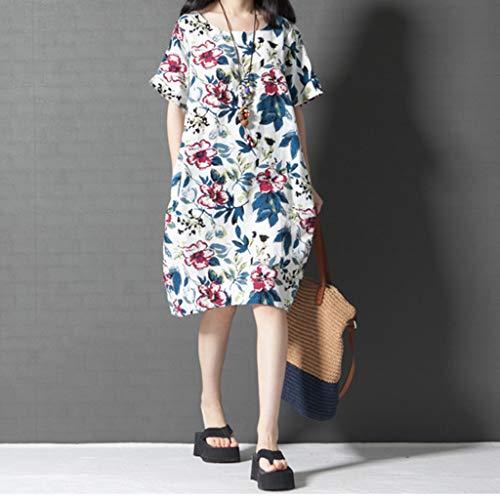 WEISUN Women Cotton Linen Dress Summer Casual Short Sleeve Dresses O-Neck Plus Size Print Dress with Pockets White by WEISUN (Image #3)