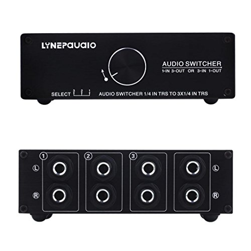 Iusun Exchanger, 3 Input And 1 Output Passive Stereo Loudspeaker Audio Exchanger Comparator (Black)