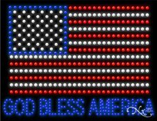 God Bless America LED Sign - 20 x 26 x 1 inches - Made in USA