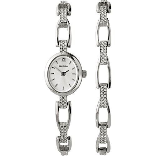 Amazon Sekonda La s Stone Set Watch And Bracelet Gift Set