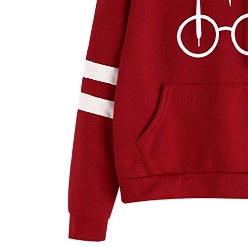 Rosso Harry Con Giacca Cappotto Donna Gli Felpa Minetom Lunga Occhiali Stampare Sweatshirt Autunno Cappuccio Hoodies Manica Potter waW0PB