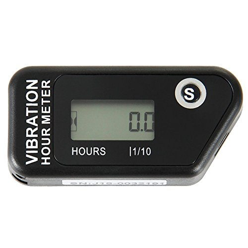 SEARON Vibration Hour Meter Wireless Resettable for All Vibrating Machine Motocross Marine Motorcycle Snowmobil ATV Boat Generators Tractor Lawn Mower Black