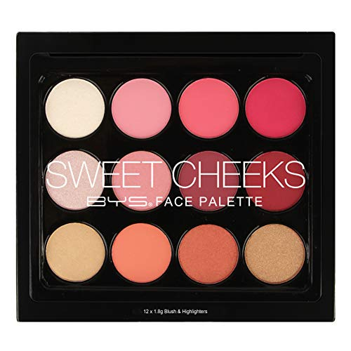 BYS Sweet Cheeks Highlight and Blush Face Palette - Featuring 12 matte and shimmer Highlight and Blush shades, the soft and easy to blend powders can be worn alone or mixed