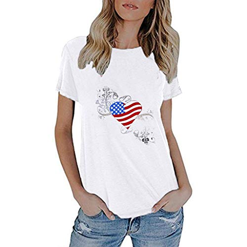 (vermers Casual Women's Short-Sleeved American Flag T Shirt - 4th July - Patriotic Tee Shirts - Independence Day White)