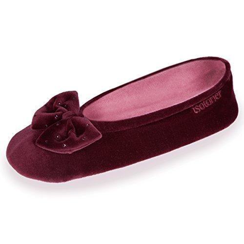 Zapatillas MUJER Terciopelo gran nudo Isotoner Rojo Burdeos