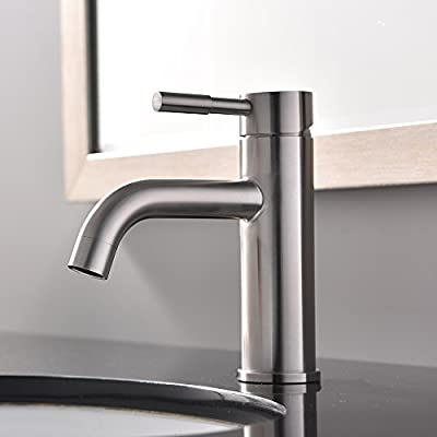 """VCCUCINE Modern Commercial Stainless Steel Brushed Nickel Single Handle Bathroom Lavatory Vanity Vessel Sink Faucet, Sink Mixer Faucet With Two 3/8"""" Hoses"""