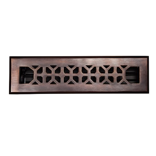 The Copper Factory CF142AN Solid Cast Copper Decorative 2.25-Inch by 12-Inch Floor Register with Damper, Antique Copper