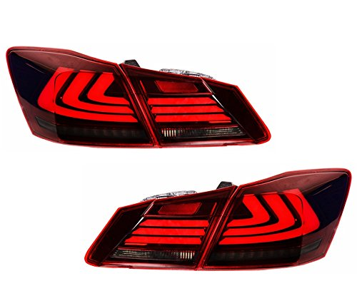 MOSTPLUS Red Smoke LED Brake Tail Lights for 2013-2015 Honda Accord 4 Door Sedan Set of 2 Honda Accord 2 Door Tail