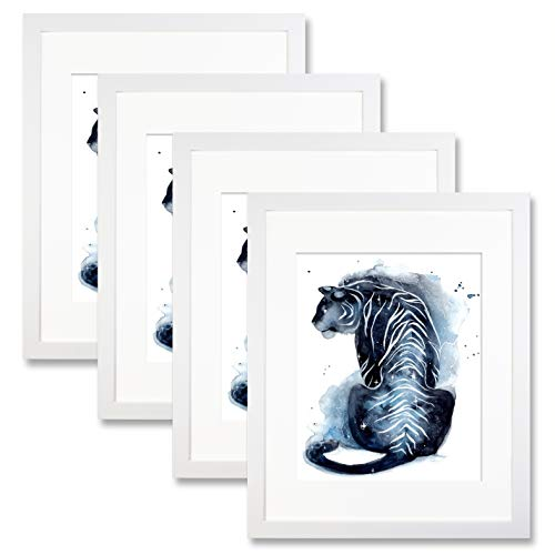 Trees&Forrest 11 x 14 White Picture Poster Frames for 8 x 10 Photos with Mat Wall Mounting Tabletop Display 4 Pack -