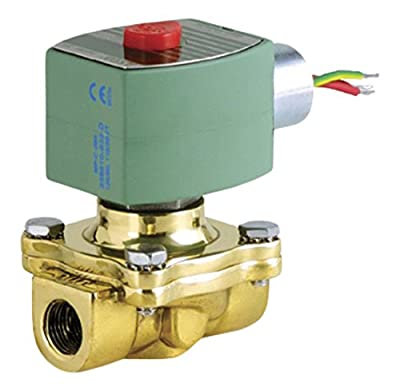 "ASCO 8210G002HW -240/60,220/50 Brass Body Hot Water Pilot Operated Diaphragm Valve, 1/2"" Pipe Size, 2-Way Normally Closed, EPDM Sealing, 5/8"" Orifice, 4 Cv Flow, 240V/60 Hz, 220V/50 Hz from ASCO Valve Inc."