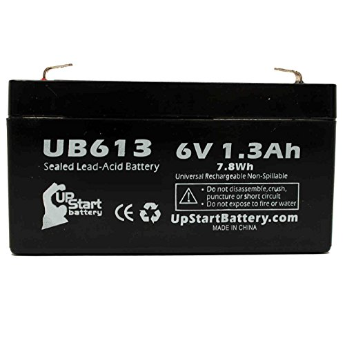 AXON SYSTEMS BLOOD PRESSURE MONITOR Battery - Replacement UB613 Universal Sealed Lead Acid Battery (6V, 1.3Ah, 1300mAh, F1 Terminal, AGM, SLA) - Includes TWO F1 to F2 Terminal Adapters