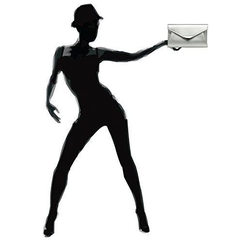 Metal TA363 CASPAR Elegant Chain and Evening Clutch Envelope Decor with Silver Bag Ladies 8qOdwqn6