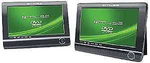 """Muse M-982 CV - Reproductor de DVD portátil (2 pantallas de 9"""" / 22,9 cm, DivX, USB), color negro"""