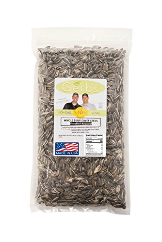 Dry Roasted & Unsalted Whole Sunflower Seeds by GERBS - 2LB. Deal. NON GMO - Certified Top 10 Allergen Free - Country of Origin USA