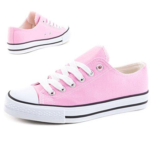 Trendige Unisex Damen Kinder Herren Schnür Sneaker Low Top Schuhe Canvas Textil Pink