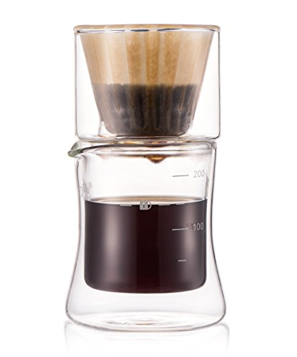 Diguo Hand Drip Coffee Maker Set, Double Walled Borosilicate Glass Dripper and Coffee / Tea Cup. 200ml/1 Cup. (Include 10 Count of Diguo Wave Coffee Paper Filter)