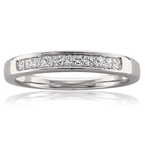 14k White Gold Princess-cut Diamond 11-stone Bridal Wedding Band Ring (1/4 cttw, J-K, SI1-SI2), Size 6.5