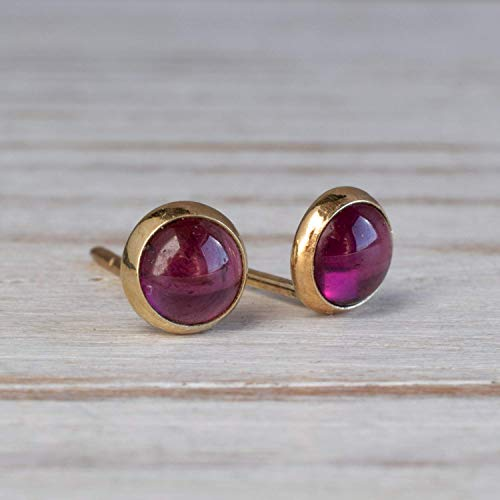 - 14K Gold Red Garnet Stud Earrings - 14K Solid Yellow Gold, Tiny 4mm Stone, January Birthstone, Dark Red Genuine Garnet Natural Real Gemstone - Dainty Handmade Jewelry Gift for Girls and Women