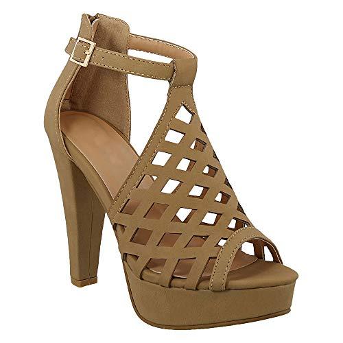 - ShoBeautiful Women's Cage Cut Out Stacked High Heel Open Toe Pump Platform Sandals Tan 10