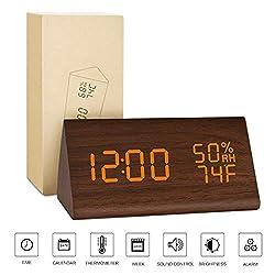 BlaCOG Digital Alarm Clock with 3 Set of Alarms,Desk Clock Display Time Date Temperature,Electronic Clock for Bedroom,Sound Control Function-Brown/Orange