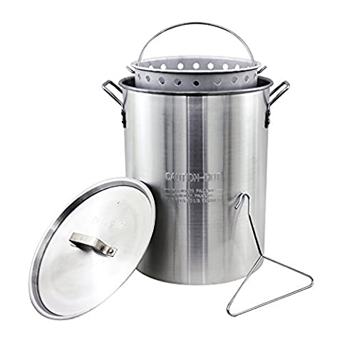 CHARD ASP30 Aluminum Stock Pot and Perforated Strainer Basket Set with Safety Hanger, 30 Quart - Clam Steamer Pot