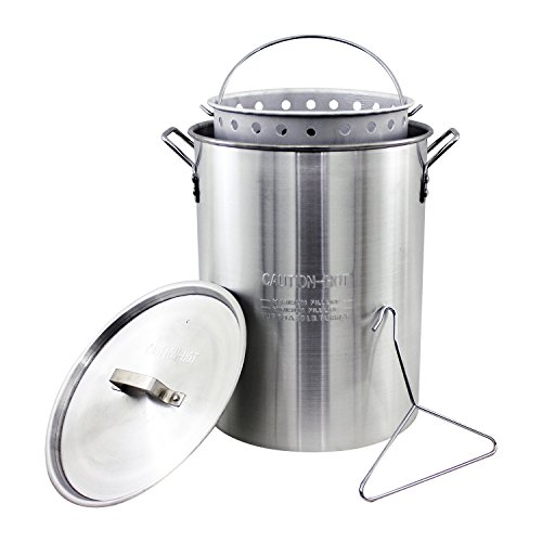 - Chard ASP30 Aluminum Stock Pot and Perforated Strainer Basket Set with Safety Hanger, 30 Quart