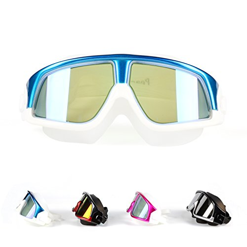 Premium Polarized Big Large Frame Swim Goggles, Swimming Goggles Anti Fog No Leaking with UV Protection and Clear Lens Wide-Vision for Men Women Adult Youth with Free Case,Nose Clip and Ear Plugs