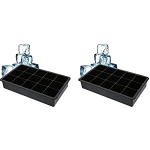 2 Pack— 15 Ice Cubes Tray Mold-Silicone-Candy Mold Cake Mold Chocolate Mold, Black
