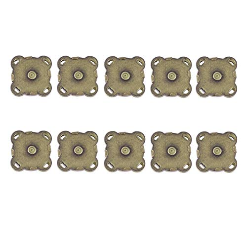 WINOMO 10 Sets of 15mm Sew In Magnetic Bag Clasps for Sewing (Bronze) ()