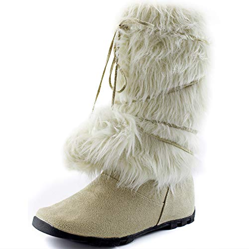 DailyShoes Women's Warmer-01 Mukluk Boots Faux Fur, 7.5