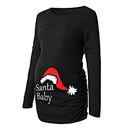 Funny Maternity Tops for Women Christmas, Women's Pregnant Side Ruched Long Sleeve Maternity Crew Neck T Shirt Top Blouse Pregnancy Clothes