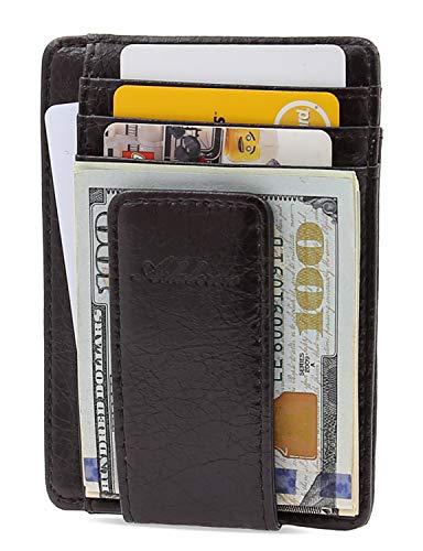 AslabCrew Minimalist Genuine Leather Magnetic Front Pocket Money Clip Wallet RFID Blocking Card Wallets, Savage-DarkBrown
