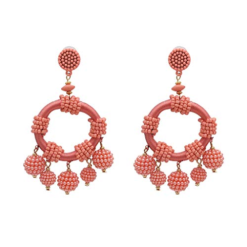 (Geometric Ball Multicolor Earrings Vintage Rice Beads Pendant Ladies Jewelry Drop Dangle Earrings)