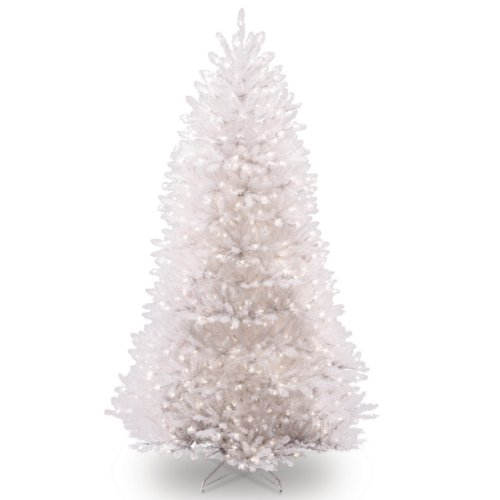 National Tree 7.5 Foot White Dunhill Fir Christmas Tree, Hinged with 750 Clear Lights (DUWH-75LO) (Pre Lit Dunhill Fir Artificial Christmas Tree)