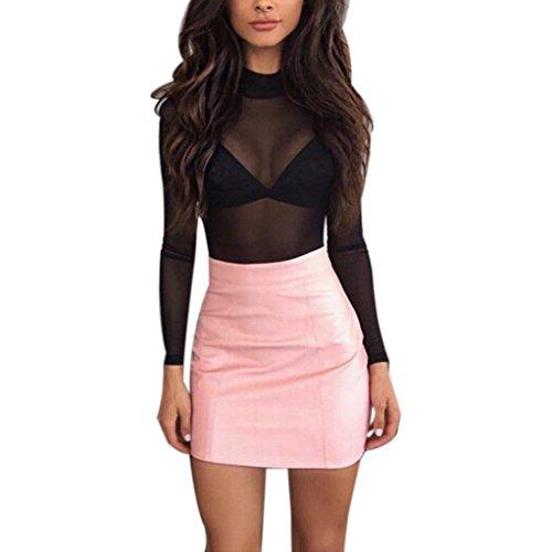 Short Skirt, Howstar Women's Bandge Leather High Waist Pencil Skirt Bodycon Hip Mini Skirt (XL, Pink)