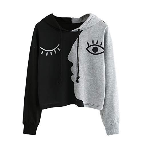 TIFENNY Women's Pullover Patchwork Printed Face Pattern Sweatshirt Hooded Long Sleeve Crop Blouse Short Tops