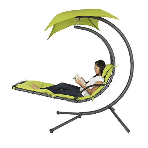Hanging Chaise Lounger Chair Arc Stand Air Porch Swing Ha...