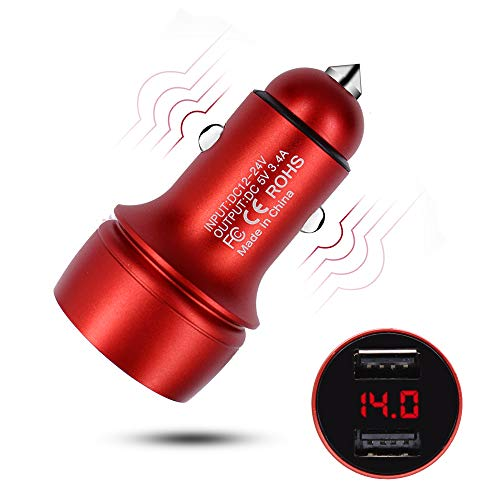 HUIQIAODS Car Charger 5V/3.4A Dual USB Port Car Charger Adapter LED Display Car Voltage Detector Flush Fit for Phone X/ 8/7/ 6s/ Plus iPad Pro/Mini 3, Samsung Note 9/ Galaxy - For 5 Charger Red Car Cord